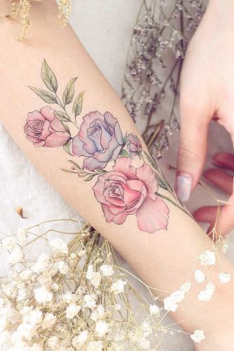 Watercolor Roses Tattoo Design #watercolortattoo #armtattoo