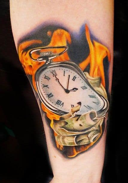 Melting Pocket Watch Tattoo by Acosta Tattoo