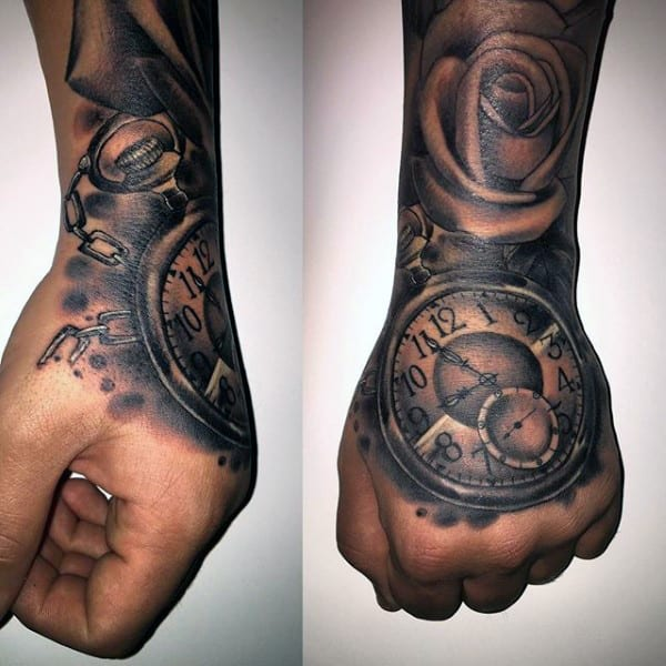 pocket watch on hand tattoo