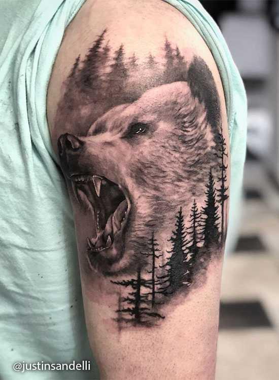 Тату медведь: 119 фото татуировки, эскизы, значение мужских и ... | 750x550